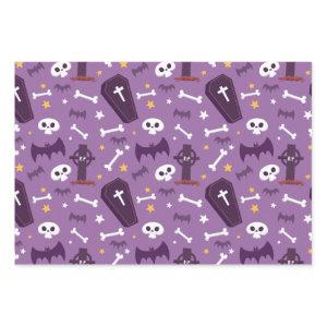 Cute Halloween Purple Bat Skull Cemetery Pattern Wrapping Paper Sheets