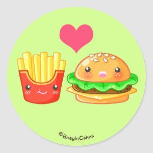 Cute Hamburger & Fries Sticker