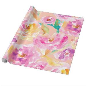 Cute Hand Painted Watercolor Flowers Wrapping Paper