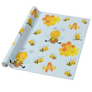 Cute Happy Bumble Bee with Flowers Little Kid Wrapping Paper