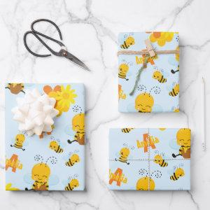 Cute Happy Bumble Bee with Flowers Little Kid Wrapping Paper Sheets