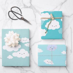 Cute Happy Clouds Blue Wrapping Paper Sheets