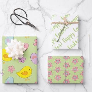 Cute Happy Easter Eggs Chicks Flowers Spring green Wrapping Paper Sheets