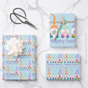 Cute Happy Easter Gnomes Bunny Ears Spring Colors Wrapping Paper Sheets