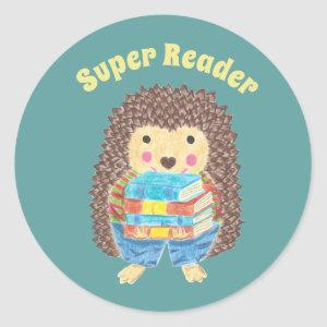 Cute hedgehog carrying books reward stickers