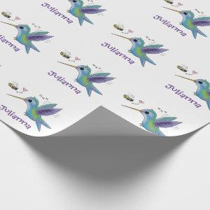 Cute hummingbird and bee cartoon illustration wrapping paper