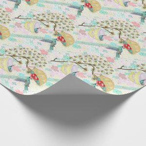Cute Hummingbirds Teacup Floral Garden Wrapping Paper