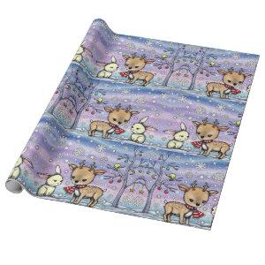 Cute Illustrated Deer and Bunny Holiday Giftwrap Wrapping Paper