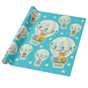 Cute Jungle Animals Flying in Hot Air Balloons Wrapping Paper