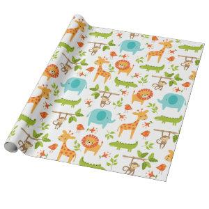 Cute Jungle Safari Animal Wrapping Paper