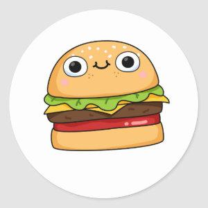 Cute Kawaii Cheeseburger Classic Round Sticker