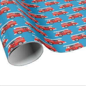 Cute kids firetruck pattern party wrapping paper