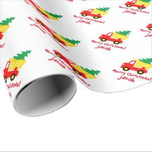Cute kid's Holiday Christmas tree on truck Wrapping Paper