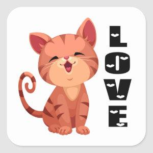 Cute Kitten Cat Orange Tabby Kitty Love Hello Square Sticker