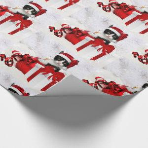 Cute Kitten with Holiday Package and Snow Wrapping Paper