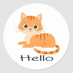 Cute Kitty Orange Tabby Kitten Cartoon Hello Cat Classic Round Sticker