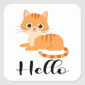 Cute Kitty Orange Tabby Kitten Cartoon Hello Cat Square Sticker