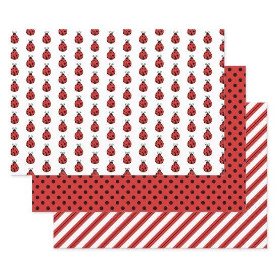 Cute Lady Bugs Polka Dots Stripes Wrapping Paper Sheets