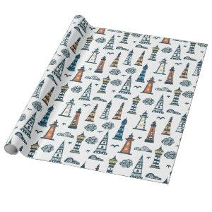Cute Lighthouse Pattern | White Wrapping Paper