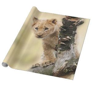 Cute Lion Cub in a Tree Wrapping Paper