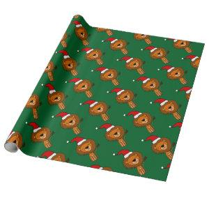 Cute Lion in Santa Hat Christmas Cartoon Wrapping Paper