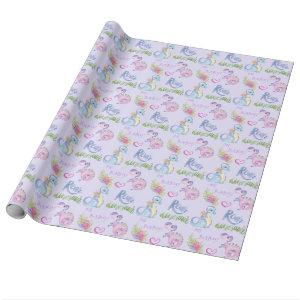 Cute Little Dinosaurs Baby Shower Wrapping Paper