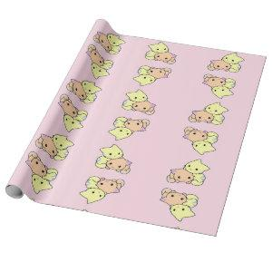 Cute little kitties on pink wrapping paper