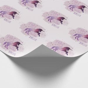 cute magical purple unicorn wrapping paper