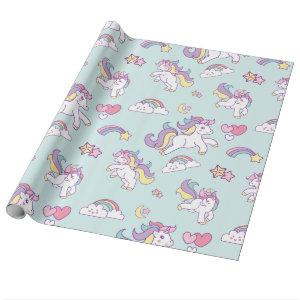 Cute Magical Unicorn Pastel color Personalized Wrapping Paper