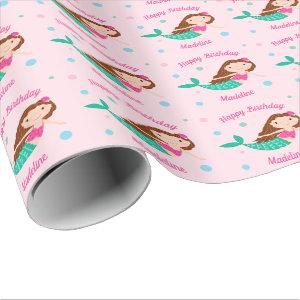 Cute Mermaid Pink Personalized Birthday Wrapping Paper