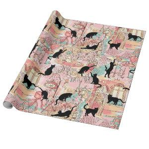 Cute Modern Watercolor Cafe Cat Pattern Wrapping Paper
