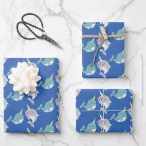 Cute Narwhal Whimsical Cartoon Pattern in Blue Wrapping Paper Sheets