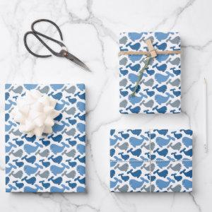 Cute Navy Blue Gray Whale Kids Wrapping Paper Sheets