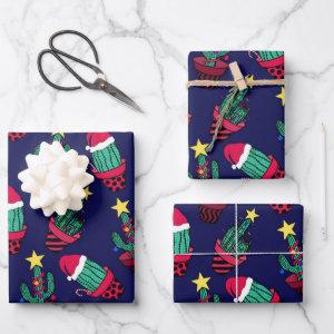 Cute Navy Decorated Cactus Tree Christmas Lights Wrapping Paper Sheets