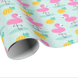 Cute Ocean Summer Pineapple and Pink Flamingo Wrapping Paper