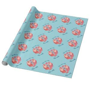 Cute Otters Valentines Day Couple Personalized Wrapping Paper