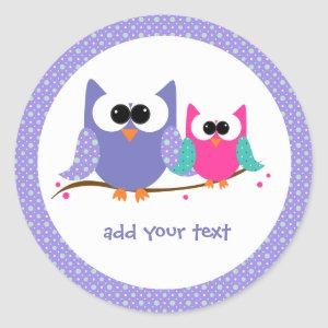 Cute Owls Add Your Text Round Stickers