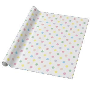 Cute Pastel Polka Dots New Baby Wrapping Paper 1