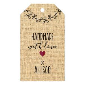 Cute Personalized #Handmade with Love Faux Fabric Gift Tags
