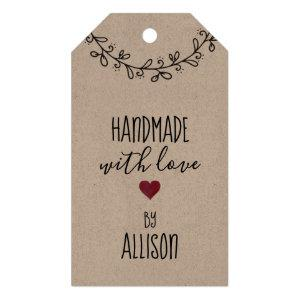 Cute Personalized Handmade with Love Kraft Gift Tags