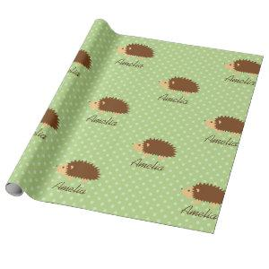Cute personalized hedgehog polkadot wrapping paper