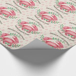 Cute Personalized Maryland Crab Christmas Wrapping Paper