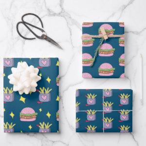 Cute Pink Burger and Fries Pattern Wrapping Paper