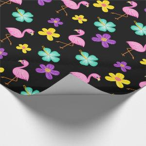 Cute Pink Flamingos and Flowers Black Wrapping Paper