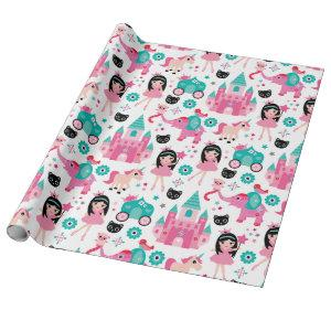 Cute Pink Little Princess Unicorn Magical Pattern Wrapping Paper
