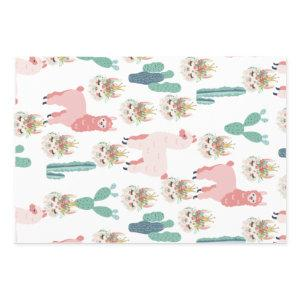 Cute Pink Llama's and Green Cactus Wrapping Paper Sheets