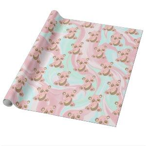 Cute Pink Panda Pattern & Shabby Chic Background Wrapping Paper