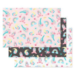 Cute Pink Teal Unicorn Rainbow Floral Stars Wrapping Paper Sheets