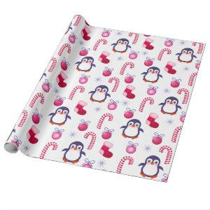 Cute Pink & White Christmas Pattern with Penguins Wrapping Paper