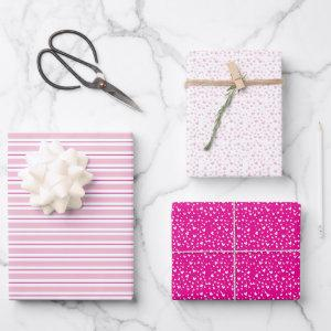 Cute Pink & White Hearts & Stripes Valentine's Day Wrapping Paper Sheets
